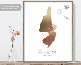 Wedding Map Guest Book Alternative / States Map / Faux Metallic Rose Gold Map Guestbook / Guest Sign In ▷Canvas, Paper, Board {or} Printable