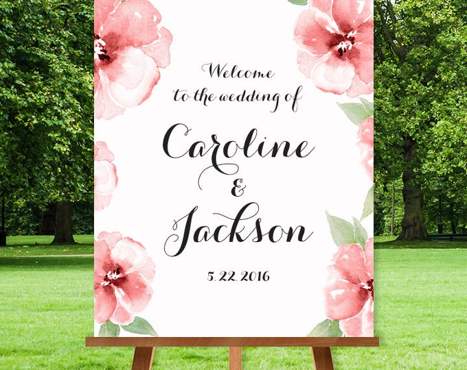 Floral Wedding Welcome Sign DIY / The CAROLINE / Pink Watercolor Flower Frame, Black Calligraphy Sign▷ Printable File {or} Printed & Shipped