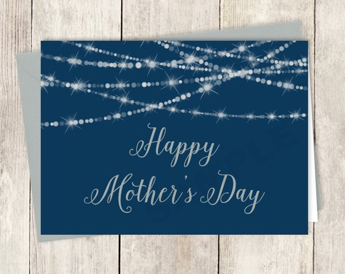 Elegant Mother's Day Card Card DIY / Happy Mother's Day / Festive Bokeh String Light / Navy and Silver Card ▷ Instant Download Printable PDF