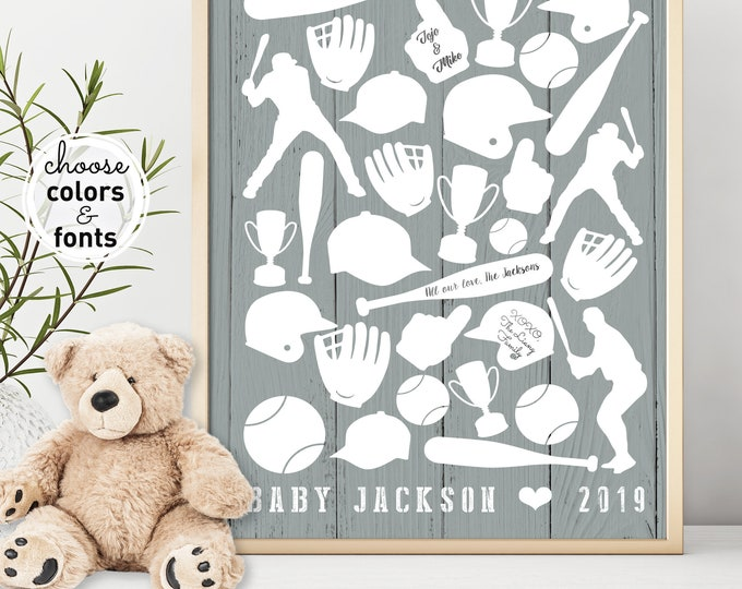 Baseball Baby Shower Guest Book, Canvas Sign, Sports Guestbook Gray, New Baby Gift Personalized