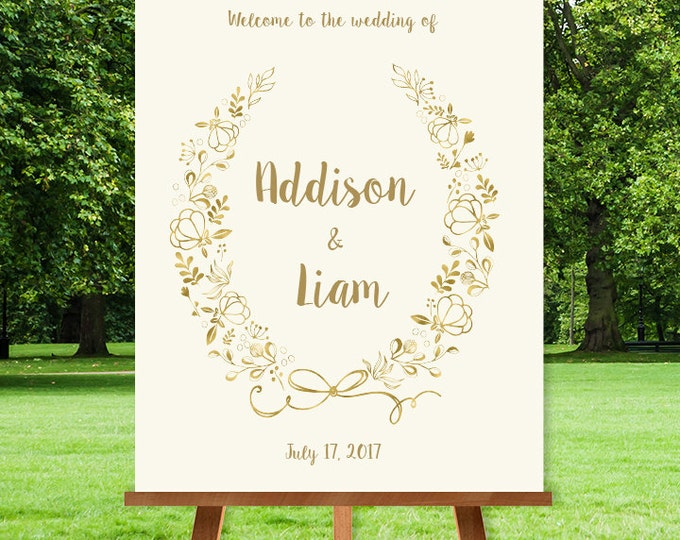 Gold Wedding Welcome Sign / Metallic Gold Wildflower Wreath / Gold and Cream / Custom Sign ▷ Printable File {or} Printed & Shipped