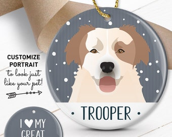 Great Pyrenees Ornament, Custom Christmas Ornament with Pet Portrait, Personalized Gift, Pet Lover Gift