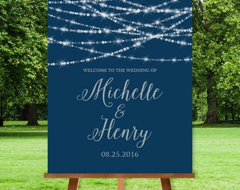 Elegant Wedding Welcome Sign / Festive Bokeh String Light Sparkle / Navy and Silver Calligraphy Sign ▷ Printable File {or} Printed & Shipped