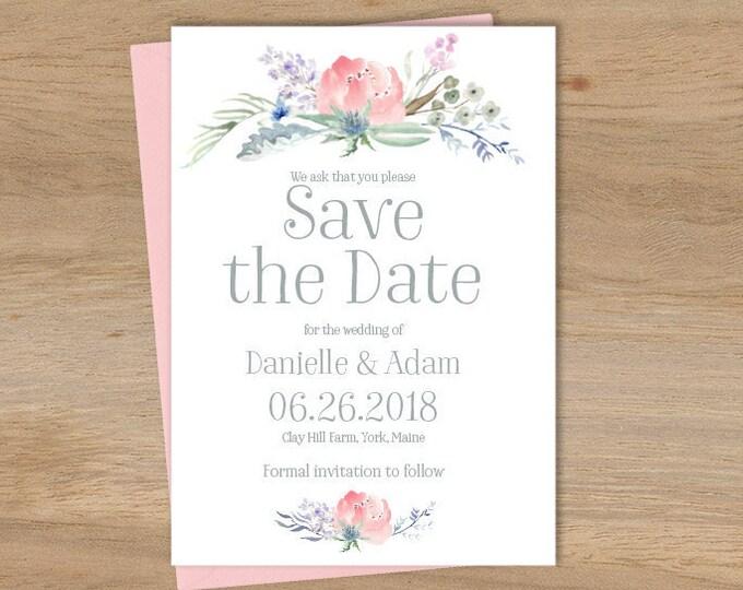 Boho Save The Date / Blush Flowers, Boho Flowers, Bohemian Greenery, Wildflowers, Blush, Gray ▷ Printed Wedding Invitations {or} Printable