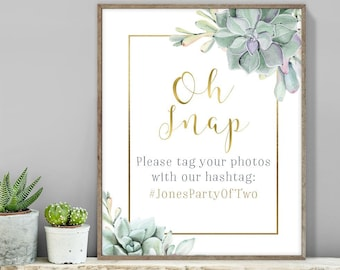 Succulent Hashtag Sign / Instagram Sign / Greenery and Gold Geometric / Green Cactus and Gold ▷ Printable File {or} Printed & Shipped