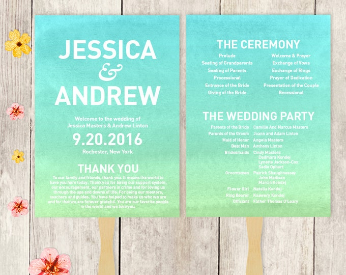 Wedding Program Fan DIY / Wedding Fan / Blue Ombre Watercolor, Turquoise Blue and Green ▷ Printable {or} Printed *** ASSEMBLY REQUIRED