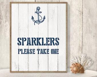 Sparklers, Please Take One // Wedding Sparkler Sign DIY // Nautical Sign, Navy Anchor Printable PDF ▷Instant Download