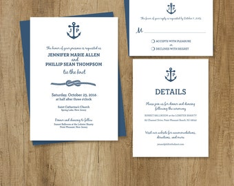 Nautical Wedding Invitation Set / Wedding Suite / Timeless, Classic, and Elegant ▷ Printable Files {or} Printed & Shipped