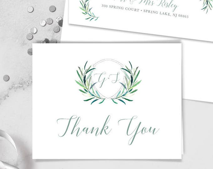 Greenery Thank You Card / Eucalyptus Crest / Initial Monogram Crest, Eucalyptus Leaves ▷ Printed Heavy Paper {or} Printable