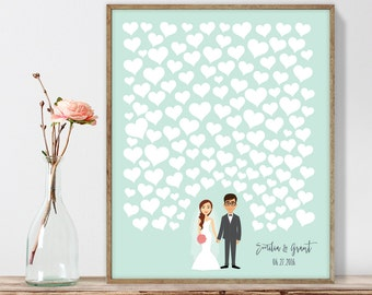 Wedding Guest Book Alternative Poster DIY  / Personalized Couple Illustration / Hearts on Mint / Custom Illustration ▷ Printable PDF