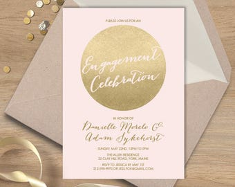 Blush and Gold Engagement Party Invitation / Metallic Gold and Blush / Faux Gold ▷ Printed Wedding Invitations {or} Printable