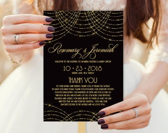 Great Gatsby Wedding Program Fan / Bokeh Gold Fairy Lights, Black and Gold Art Deco Wedding Fan  ▷ Printable {or} Printed *** NEEDS ASSEMBLY