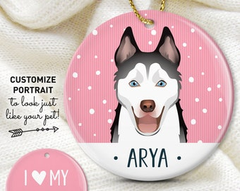 Siberian Husky Ornament, Dog Christmas Ornament with Custom Pet Portrait, Personalized Gift for Dog Mom, Husky Gift