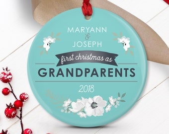 New Grandparents Ornament, Grandma & Grandpa Gift Idea, First Christmas Ornament, Unique Keepsake Baby Announcement, Aqua Blue