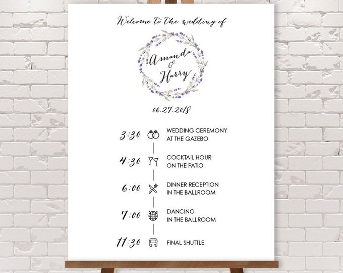 Wedding Timeline Sign / Wedding Itinerary Agenda, Icons / Rustic Lavender Wreath Flower Welcome Sign ▷ Printable File {or} Printed & Shipped