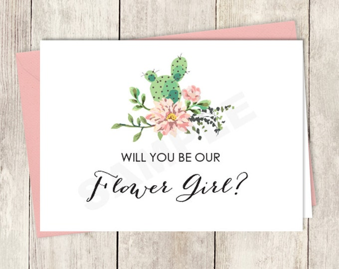 Rustic Will You Be Our Flower Girl Card DIY Printable / Wedding Card / Cactus Succulent, Coral Flower Wreath Fiesta ▷ Instant Download