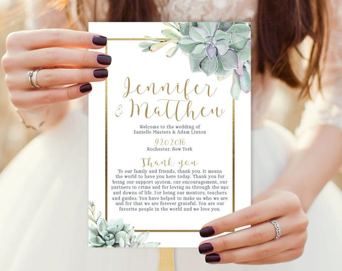 Succulent Wedding Program Fan / Greenery and Gold Geometric / Green Cactus and Gold Schedule ▷ Printable {or} Printed *** ASSEMBLY REQUIRED