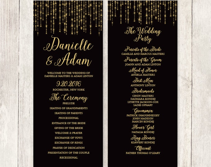 Elegant Wedding Program / Great Gatsby Bokeh String Light / Black and Gold / Bridal Party, Schedule ▷ Printable File {or} Printed & Shipped