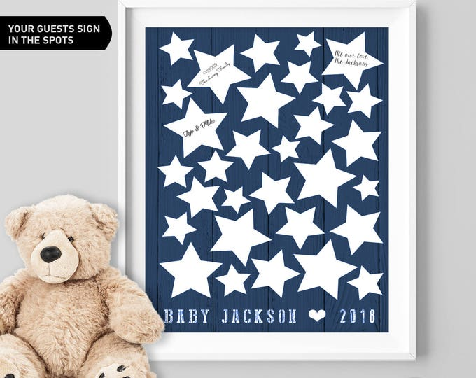 Stars Baby Shower Guest Book Alternative / Navy Guest Book, Starry Night Baby Shower, It's a Boy ▷ Canvas, Board, Paper {or} Printable