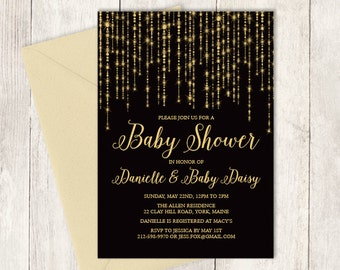 Elegant Baby Shower Invitation DIY / Great Gatsby Bokeh String Light / Black and Gold Calligraphy ▷ Baby Shower Invite Printable PDF