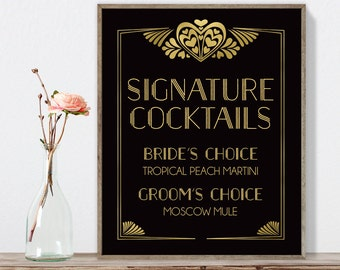 Great Gatsby Signature Cocktail Sign / Bar Sign / Art Deco, Roaring Twenties, 1920s / Black and Gold ▷ Printable File {or} Printed & Shipped