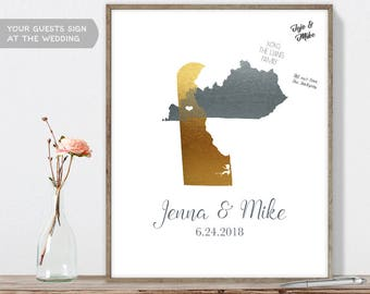 Wedding Map Guest Book Alternative / States Map / Faux Metallic Silver Map Guestbook / Guest Sign In ▷Canvas, Paper, Board {or} Printable