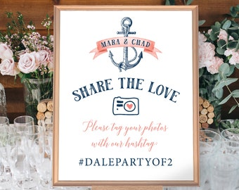 Nautical Hashtag Sign for Social Media, Coral Navy Blue Wedding Photo Sign for Beach Wedding > PRINTED Sign for Wedding {or} Printable Sign