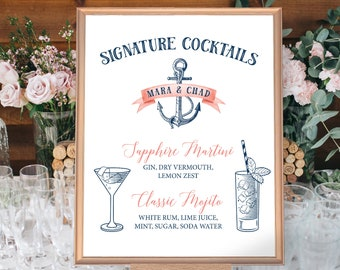 Nautical Cocktail Sign, Signature Cocktail Sign, Wedding Bar Sign, Coral Navy Blue Drink Sign > PRINTED Sign for Wedding or Printable Sign