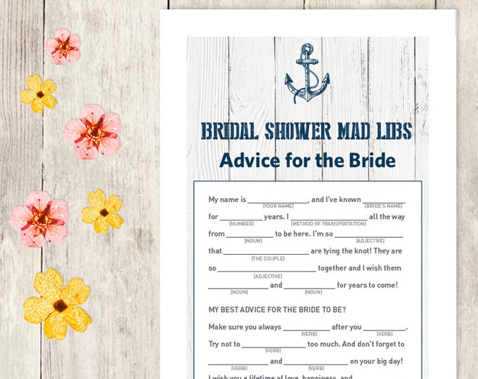 Nautical Bridal Shower Game DIY / Nautical Card, Anchor / Mad Libs Printable PDF / Advice for the Bride / Wedding Shower ▷ Instant Download