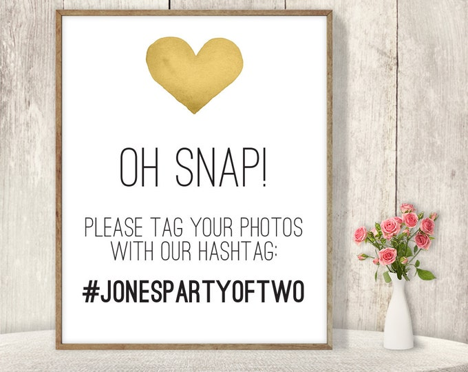 Wedding Hashtag Sign / Instagram Sign / Social Media Photo Tag / Gold Whimsical Watercolor Heart ▷ Printable File {or} Printed & Shipped