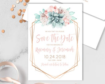 Succulent Save The Date Card / Blush Flower Succulent Bouquet Faux Metallic Copper Watercolor Cactus ▷ Printed Heavy Paper {or} Printable