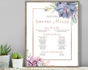 Succulent Wedding Welcome Sign / Bridal Party Sign / Greenery, Rose Gold Geometric / Cactus, Copper ▷ Printable File {or} Printed & Shipped