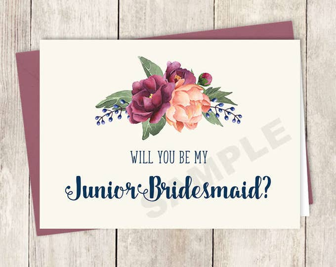 Will You Be My Junior Bridesmaid Card DIY Printable / Burgundy Peony Berry Bouquet, Peach Blush Pink Ranunculus, Fall ▷ Instant Download PDF