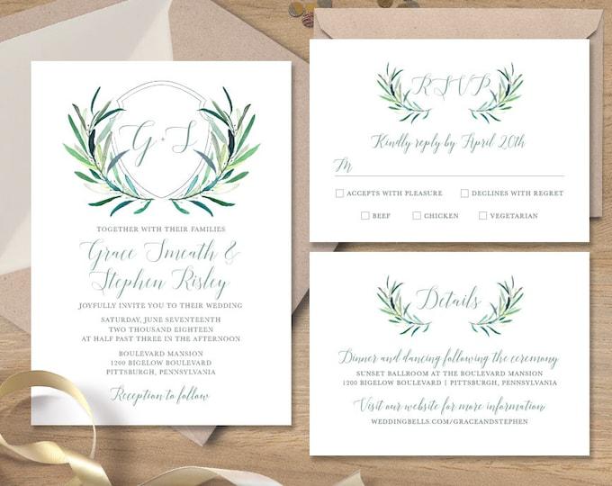 Greenery Wedding Invitation Set / Eucalyptus Crest / Initial Monogram Crest, Eucalyptus Leaves ▷ Printed Wedding Invitations or Printable