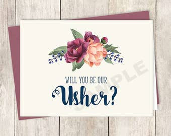 Will You Be Our Usher Card DIY Printable / Burgundy Peony Berry Bouquet, Peach Blush Pink Ranunculus, Fall ▷ Instant Download PDF