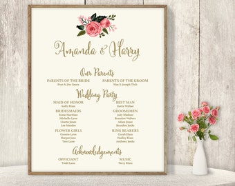 Wedding Welcome Sign DIY / Wedding Party Sign, Bridal Party Program / Watercolor Rose Flower ▷ Printable File {or} Printed & Shipped