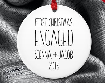Minimalist Engaged Ornament, Modern Farmhouse Christmas Ornament Personalized, Christmas Engagement Gift Idea, Black and White