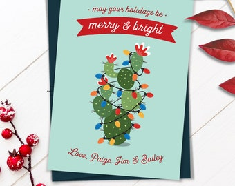 Cactus Christmas Card, Funny Christmas Cards with Succulent Cartoon, Personalized Holiday Card, Printed or Printable Cards