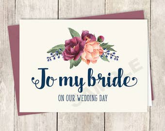 To My Bride Card DIY Printable, On Our Wedding Day / Burgundy Peony Berry Bouquet, Peach Blush Pink Ranunculus, Fall ▷ Instant Download PDF