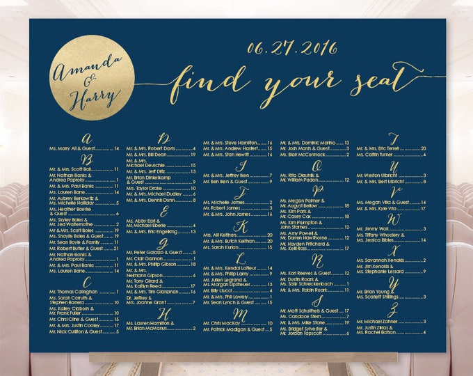 Alphabetical Seating Chart Sign / Gold Wedding Sign / Metallic Gold and Navy Circle / Seating Sign▷ Printable File {or} Printed & Shipped