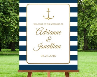 Nautical Wedding Welcome Sign / Nautical Stripes / Navy Stripes and Gold Anchor / Navy and Gold ▷ Printable File {or} Printed & Shipped