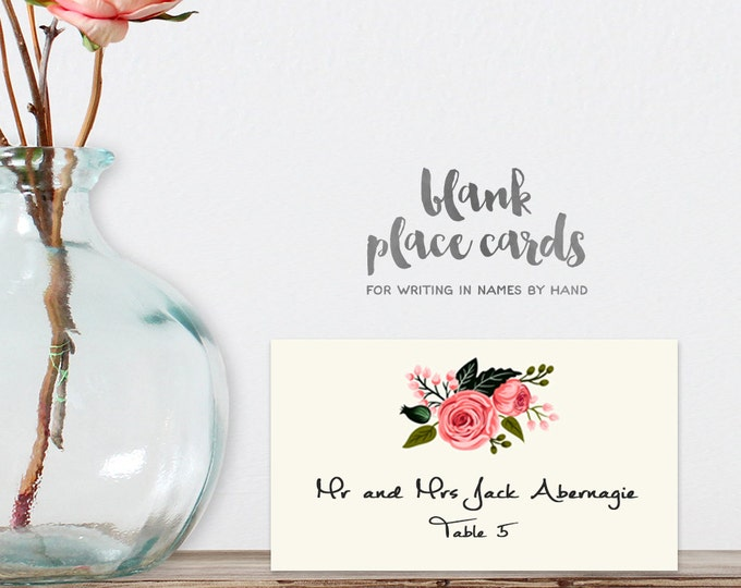 Wedding Place Cards DIY Printable PDF / Floral, Watercolor Rose / Name Card / Food Card / Tent Card / Guest Seating Card ▷ Instant Download