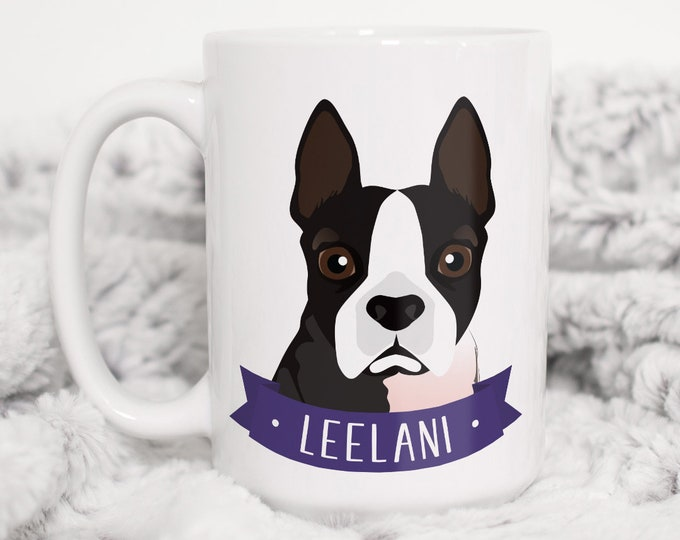 Boston Terrier Mug, Custom Dog Portrait on Ceramic Mug, Personalized Pet Cartoon, Terrier Mom Gift Idea for Dog Lover