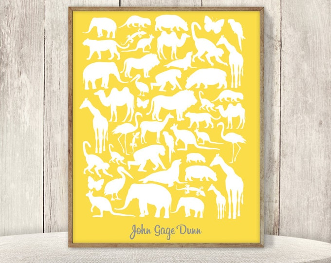 Safari Baby Shower Guest Book Alternative DIY / Zoo Animal, Giraffe, Elephant, Lion Yellow / Unisex Shower, Jungle Baby Sign ▷ Printable PDF