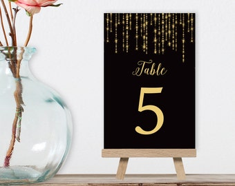 Great Gatsby Table Numbers, Wedding Table Name for Art Deco Wedding, Black and Gold Bokeh String Light > PRINTED Table Number, Double-Sided