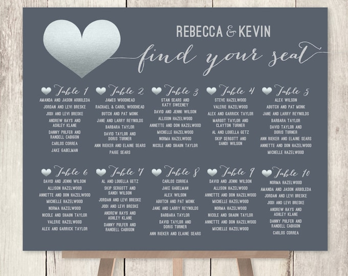 Modern Wedding Seating Chart / Silver and Gray / Faux Metallic Silver Foil / Silver Heart Sign ▷ Printable File {or} Printed & Shipped