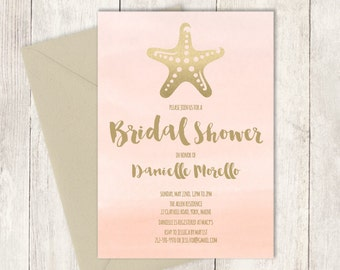 Beach Bridal Shower Invitation  / GOLDEN BLUSH Pink / Champagne Gold Starfish and Blush Watercolor  ▷ Printed Heavy Paper {or} Printable