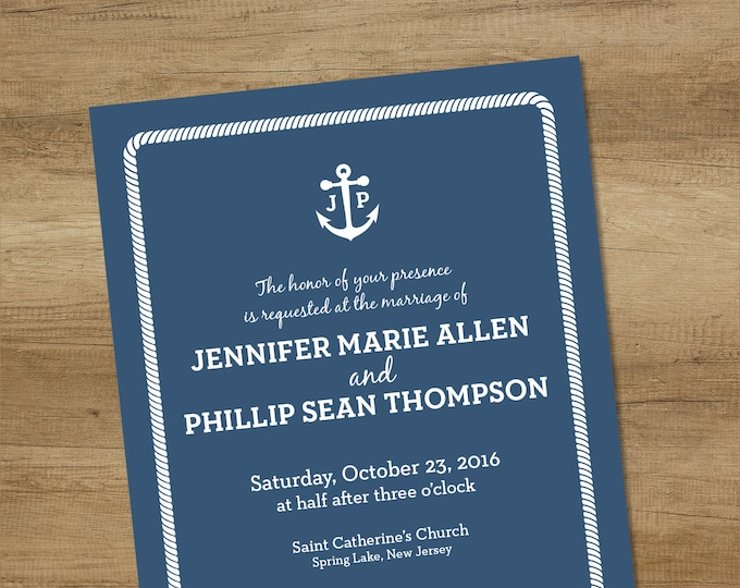 Nautical Wedding Invitation / Printable Wedding Suite ... Elegant Navy Anchor, Rope Infinity Knot ▷ Printable File {or} Printed & Shipped