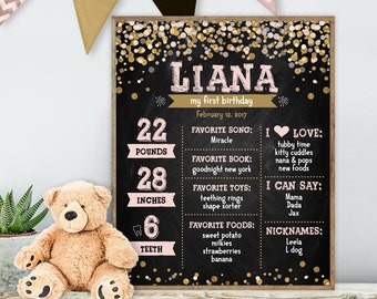 Blush and Gold First Birthday Chalkboard / Baby Facts, Chalk Baby Stats / Chalkboard Canvas Sign ▷ Printable File {or} Printed & Shipped