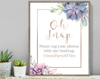 Succulent Hashtag Sign / Instagram Sign / Greenery and Rose Gold Geometric / Cactus and Copper ▷ Printable File {or} Printed & Shipped